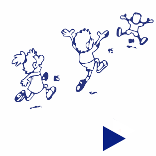Cartoon drawing of three people running into the distance with the numbers 85 and 95 between them.