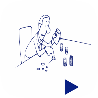 Drawing of Man With Calculator Counting Coins